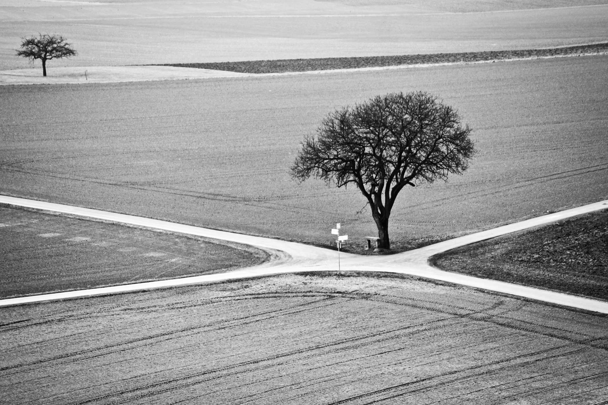 crossroad black and white